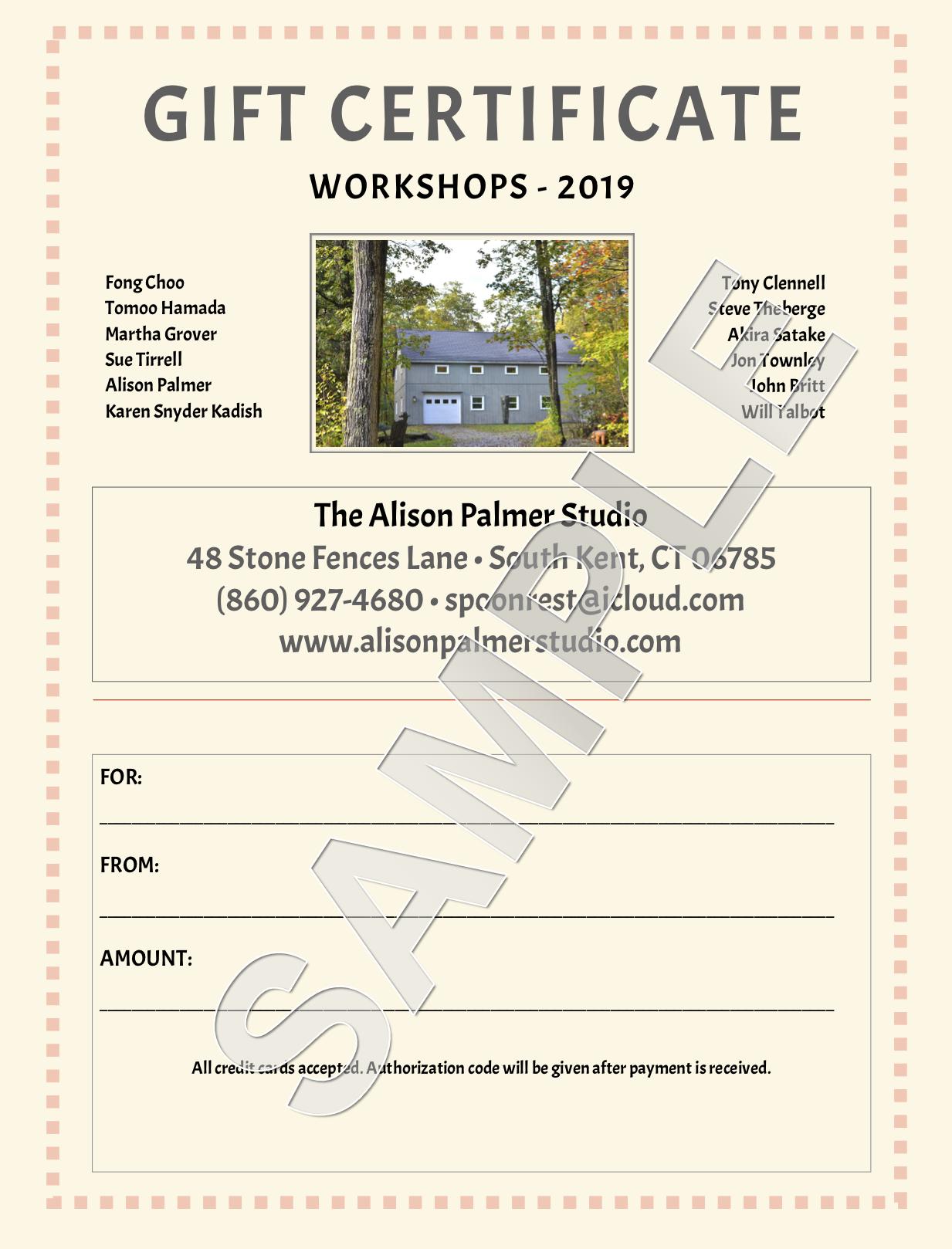 Gift Certificate Workshop Copy The Alison Palmer Studio