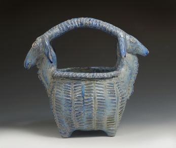 double headed goat basket blue