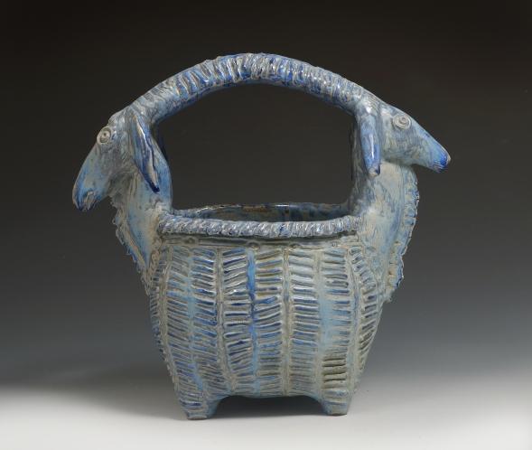 double headed goat basket blue